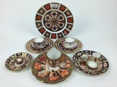 Selection of Royal Crown Derby imari including plates, cup, miniature items plus two Royal Worcester