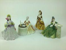 Four Royal Doulton figures - Meditation HN2330, Secret Thoughts HN2382, Clare HN2793 and Sandra HN22