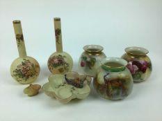 Selection of Royal Worcester including pair of slender neck bottle vases, miniature basket etc, 7 pi