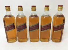 Whisky - five bottles, Johnnie Walker Old Scotch Whisky, 70% proof, 26 2/3 fl ozs