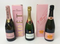 Champagne - three bottles, Bollinger, Moët & Chandon Rose