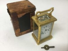 Late 19th / early 20th century French brass carriage clock