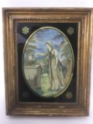 Georgian oval silkwork panel - classical lady in landscape, in verre eglomise gilt frame