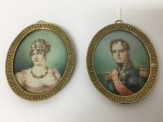 Pair of French Empire style portrait miniatures