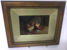 H Jackson, late 19th / early 20th century, oil on board - Chickens