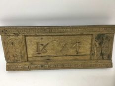 17th century carved and dated oak plaque