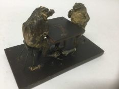 Present for your mother-in-law: taxidermy group of two seated frogs