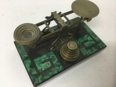 Early 20th century malachite and slate postal scales