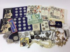 Victorian silver hinged bangle, silver charm bracelet and costume jewellery, miscellaneous coins and