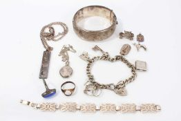 Silver charm bracelet, together with various silver jewellery