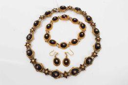 Victorian garnet choker necklace, bracelet and earrings
