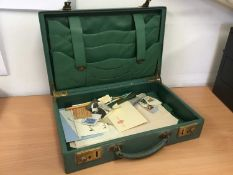 Mid 20th century green leather writing case with fitted interior, 36cm x 23cm