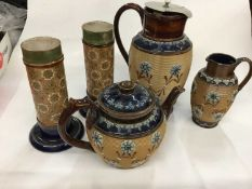 Group of five Doulton Lambeth stoneware to include a pair of vases, teapot, matching hot water pot a
