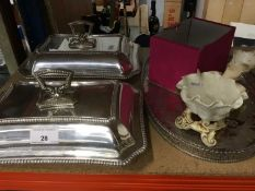 Pair of silver plated entree dishes, plated oval tray, Victorian Moore Bros porcelain spill vase and