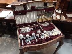 Early 20th century walnut cased canteen of cutlery