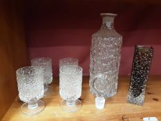 Whitefriars cinnamon nailhead vase, Whitefriars Glacier decanter and four matching glasses