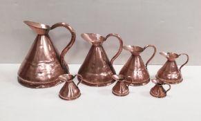 Set of 7 Vict Copper Jugs