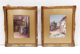 Pair of Edw Gilt Framed Watercolours Signed in Monogram Dimensions Including Frame: 35cm W x 44cm H
