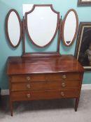 Very Clean Edw Inlaid Mahogany Triple Mirror Dressing Table Dimensions: 108cm W 55cm D 157cm H