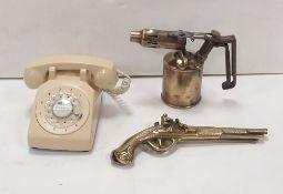 Post Plus Telegraph Old Phone & Primus Premium Blow Torch & Brass Pistols