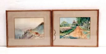 Pair of Watercolours by Tuntin Dimensions Including Frame: 51cm x 42cm