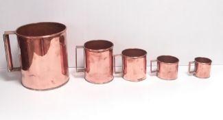 Set of 5 19C Copper Grain Measures