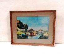 Framed Canal Scene Print Dimensions Including Frame: 47cm x 38cm