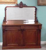 Very Clean 19C 2 Door Mirror Back Chiffonier Dimensions:134cm W 46cm D 163cm H