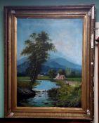 19C Large Gilt Framed Oil Painting Dimensions Including Frame :103cm W x 127cm