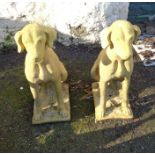 A pair of seated dog garden statues