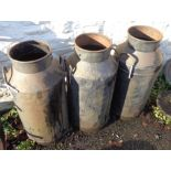 Three painted steel milk churns - no lids