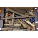 A box containing a quantity of various old tools including files, slaters axe, hammer, etc.