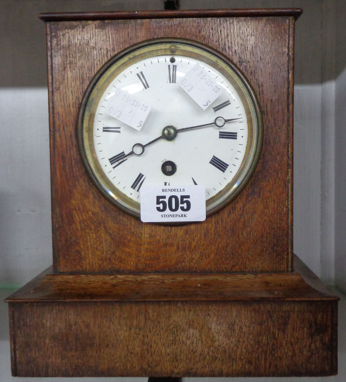 Lot 505 - A late 19th Century oak cased mantel timepiece with eight day movement