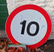 A metal 10 speed road sign