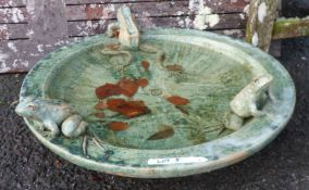 A Lucy Smith glazed pottery frog decorated garden bowl with artist's initials to centre