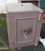 An old Joseph Bates & Son Fire Resistant safe with brass plaque and handle - with key