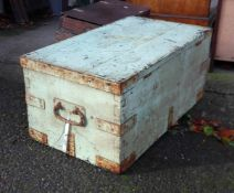 An old pine military trunk with remains of lettering for Worcester Regiment under later paintwork