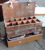 A box of old tools including spanners, tin snips, wrenches, etc.- sold with two boxes of nuts and