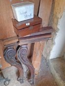 A Victorian mahogany washstand frame with ornate carved acanthus scroll supports - for
