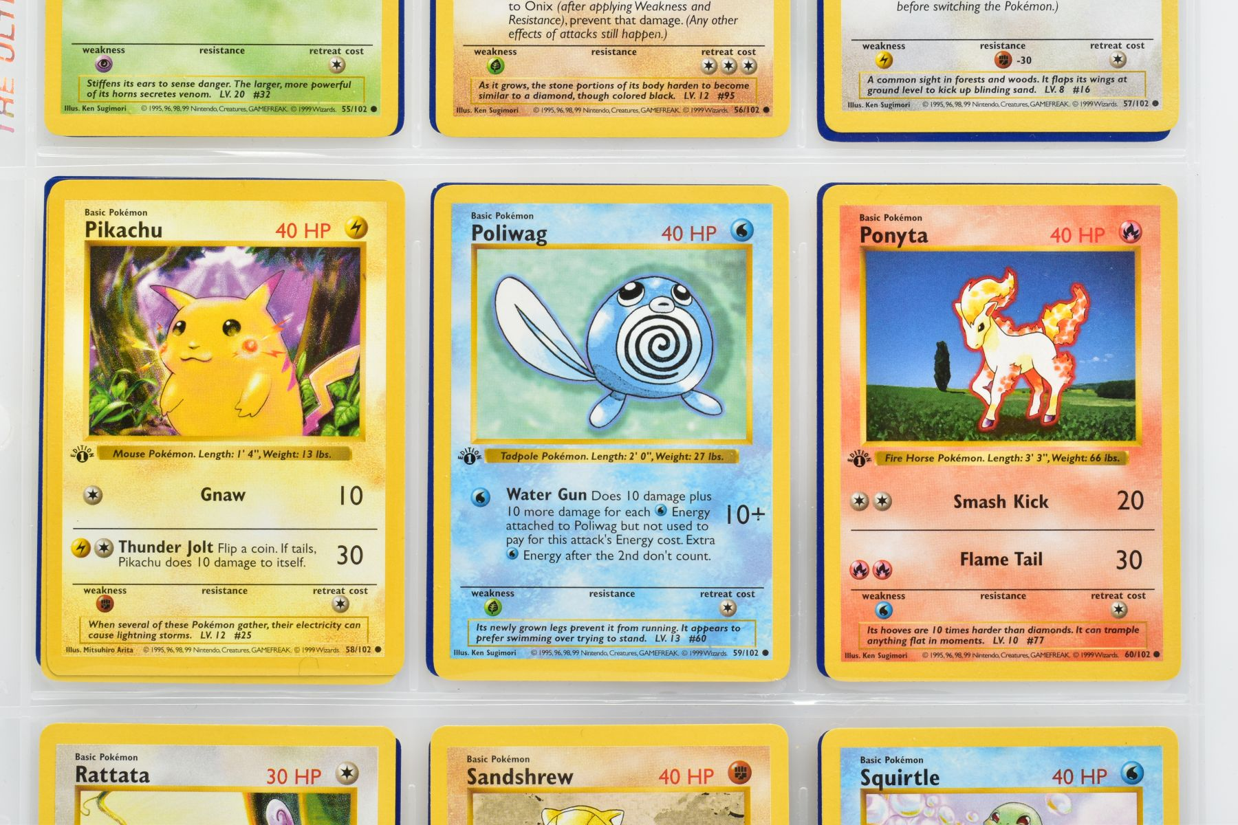 Lot 1600 - COMPLETE FIRST EDITION SHADOWLESS POKEMON CARDS BASE SET, complete set of one hundred and two cards,