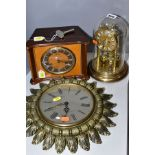 THREE 20TH CENTURY WALLMANTEL CLOCKS, comprising a Smiths Sectronic sunburst wall clock, a Smiths