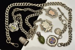 A SELECTION OF SILVER ITEMS, to include three silver Albert chains, one suspending two engraved