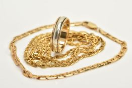 A 9CT GOLD WEDDING BAND, CHAIN AND BRACELET, the plain polished, white gold band with yellow gold