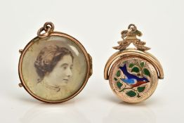 TWO YELLOW METAL LOCKETS, to include a circular double sided glass panel locket with photo, fitted