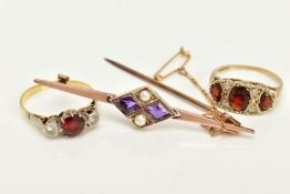 A COLLECTION OF JEWELLERY TO INCLUDE, an amethyst, split pearl bar brooch, stamped '9c', a garnet