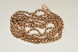 A YELLOW METAL CHAIN, a curb link chain stamped 9ct, fitted to a lobster claw clasp, stamped 9ct,