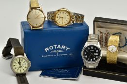 A SELECTION OF WRISTWATCHES, to include a 9ct gold cased, hand wound 'Certina' with cream dial,