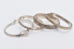 FOUR SILVER BANGLES, such as a floral engraved hinged bangle, with broken safety chain, hallmarked