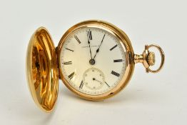 A FULL HUNTER POCKET WATCH, white dial, Roman numerals, dial signed 'Hampden Watch Co', blue