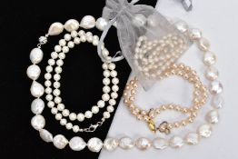 A SELECTION OF CULTURED AND IMITATION PEARL STRAND NECKLACES, the first strand of small baroque